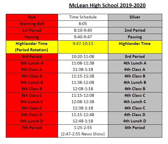 Fcps Calendar 2019.Bell Schedule Mclean High School